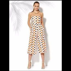 New York & Company Geo Print Strapless Jumpsuit L